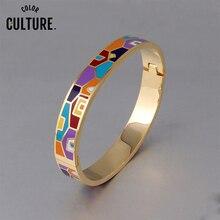 Nouveau bracelet ouvert en acier inoxydable pour femmes or géométrique coloré émail peint bracelets bijoux de mariage