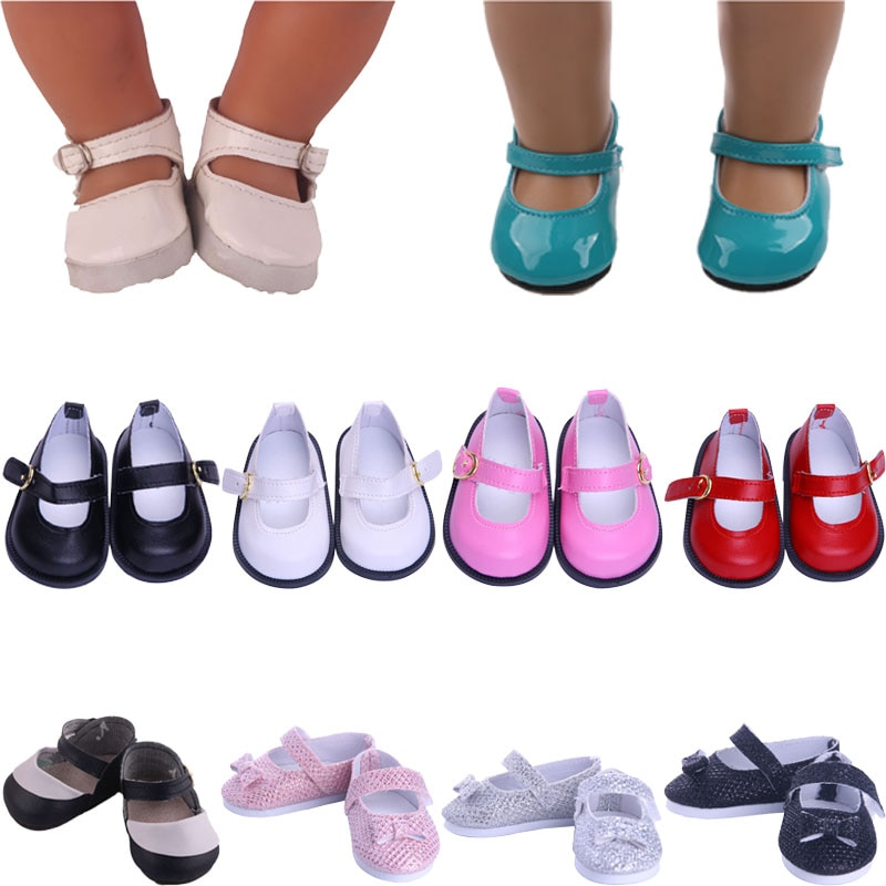 7 Cm Shoes  Leather Shoes & Sequin Shoes For 18 Inch Dolls & 43 Cm New Born Baby & Our Generation Girl's  Birthday Toy Gifts недорого