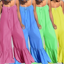 Newest Summer Women Causal Jumpsuits Plus Size Spaghetti Strap Jumpsuits Casual Sleeveless Backless
