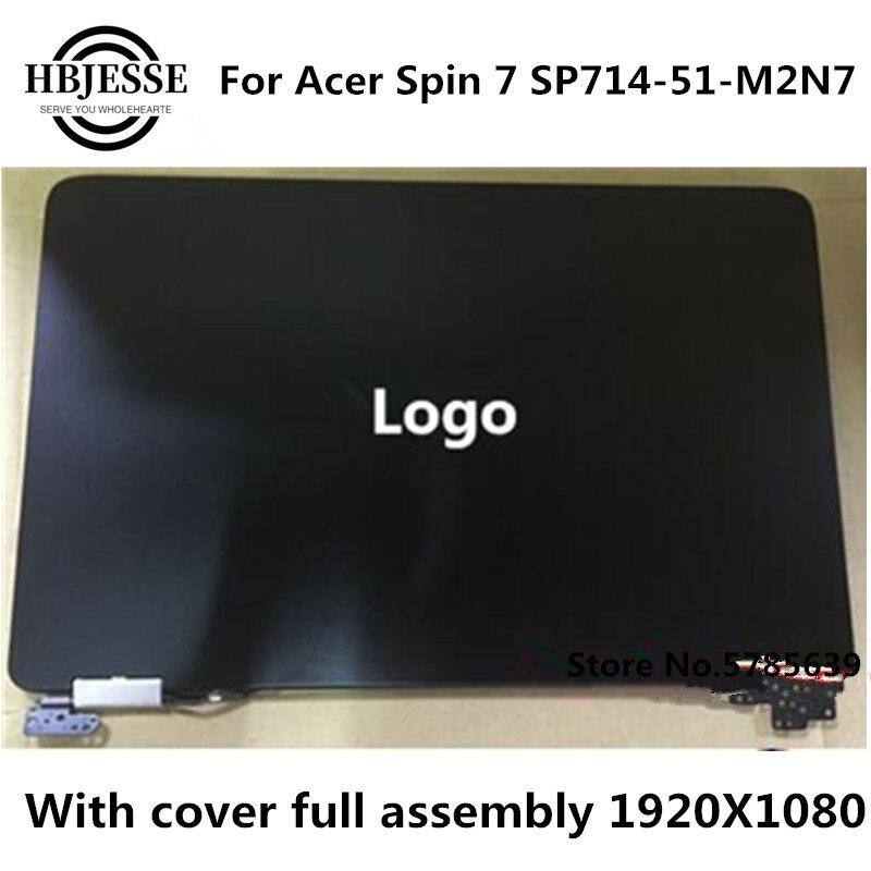 الأصلي 14 ''شاشة LCD مع لمسة + إطار + قذيفة ل أيسر تدور 7 SP714-51-M2N7 FHD 1920 استبدال شاشة تعمل باللمس الجمعية