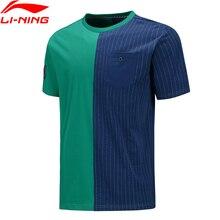 Li-ning hombres Wade Jerseys de manga corta Camiseta suelta 92% algodón 8% elastano forro Li Ning transpirable deportes Tee ATSQ021 MTS3162