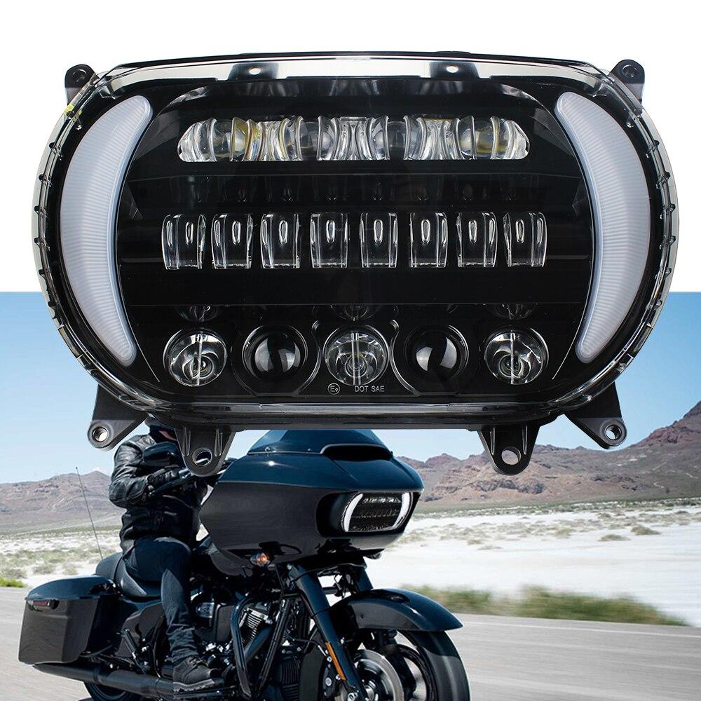 دراجة نارية LED مجموعة مصابيح أمامية مع DRL وتحويل إشارة LED كشافات للدراجات النارية الطريق الإنزلاق 2015-2020 المزدوج LED المصباح