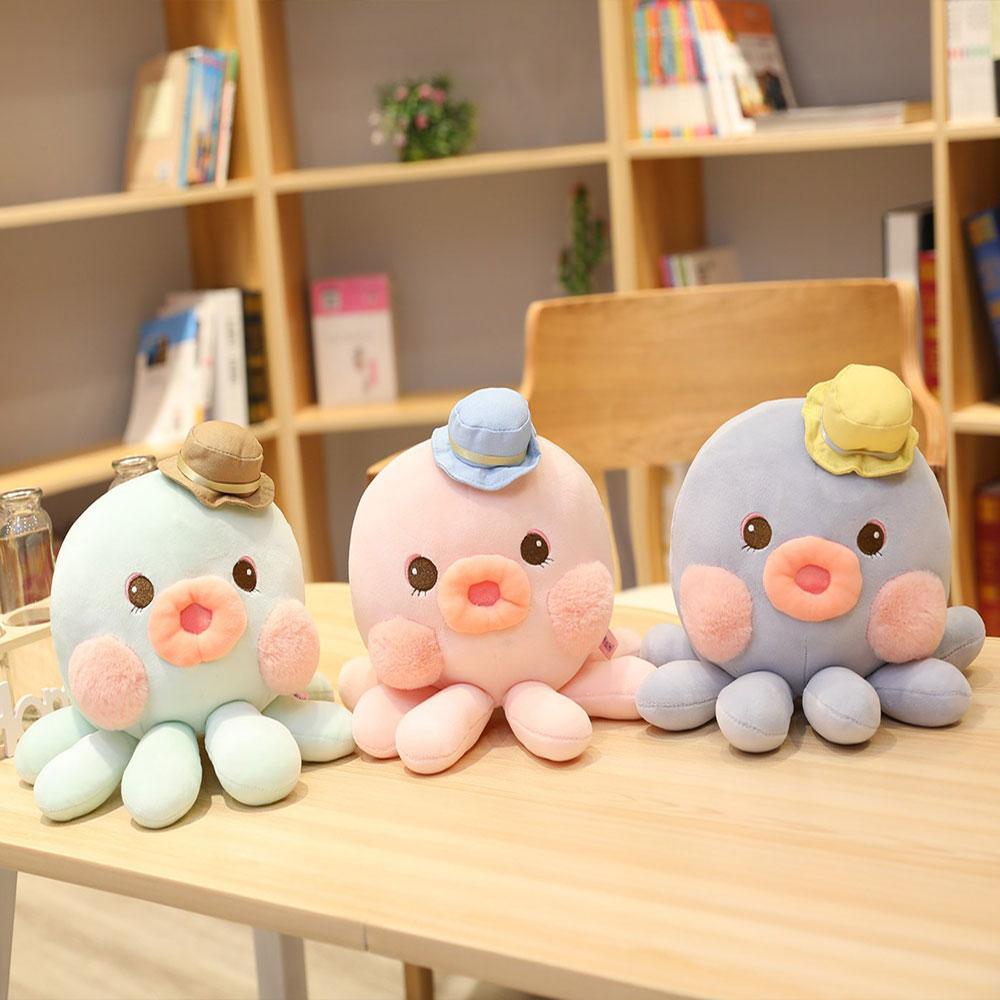 Nuevo juguete de peluche para los niños Cute Shy mejilla Animal relleno de la muñeca Super suave y Adorable Boca Grande pulpo juguetes de peluche con sombrero pulpo Juguetes