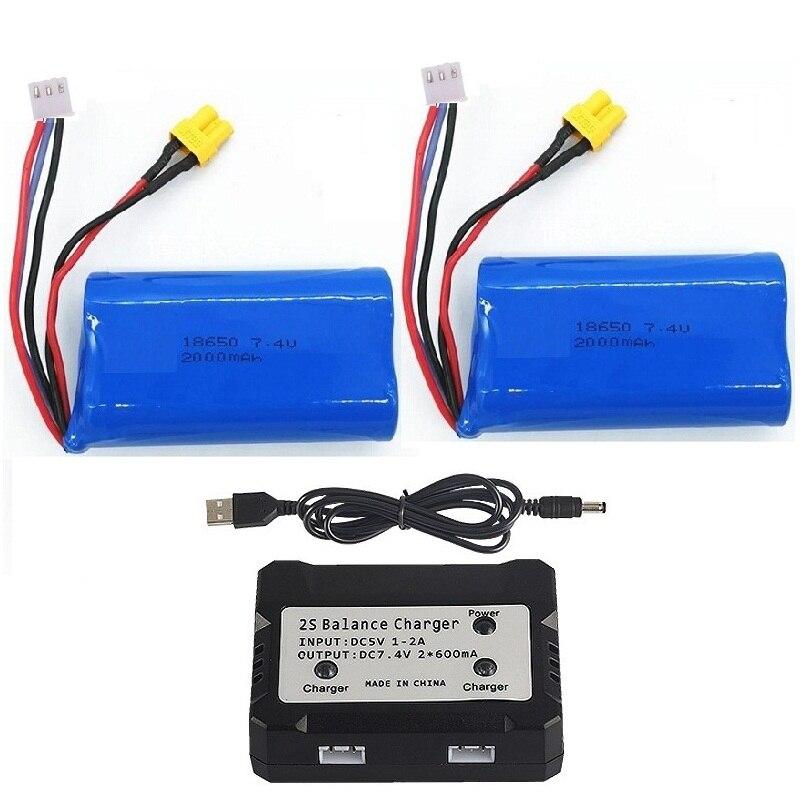 XT30 enchufe 7,4 V 2000mAh Li-ion batería recargable 18650 para HUINA 1580 1583 1/14 23 canales RC construcción eléctrica excavadora