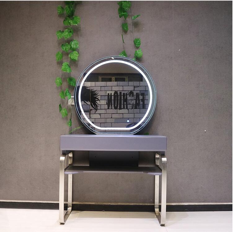 مرآة صالون تصفيف الشعر من الفولاذ المقاوم للصدأ ، مرآة مكياج على الطراز الأوروبي لصالون تصفيف الشعر مع مصباح