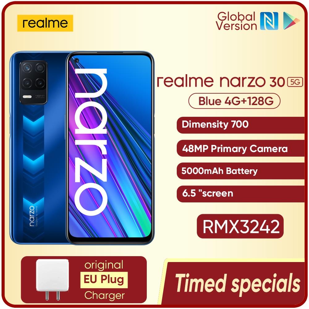 Realme Narzo 30 5G Global Version Smart phone NFC 4GB 128GB 5000mAh 48MP Triple Camera Smart Cellphone Pre-sale World Premiere
