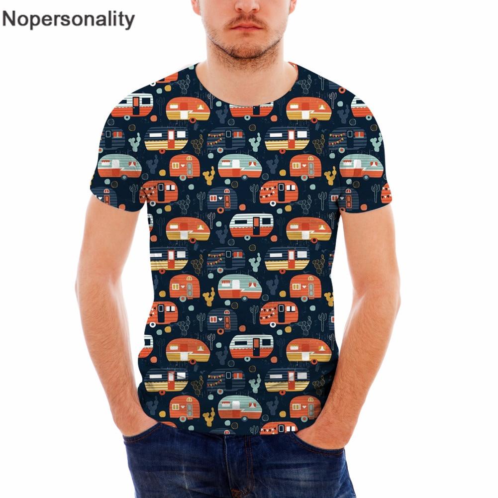 Nopersonality новые Camper Caravans футболки мужские летние 3D принт мультфильм автомобиль короткий рукав одежда o-образным вырезом мужские повседневные футболки