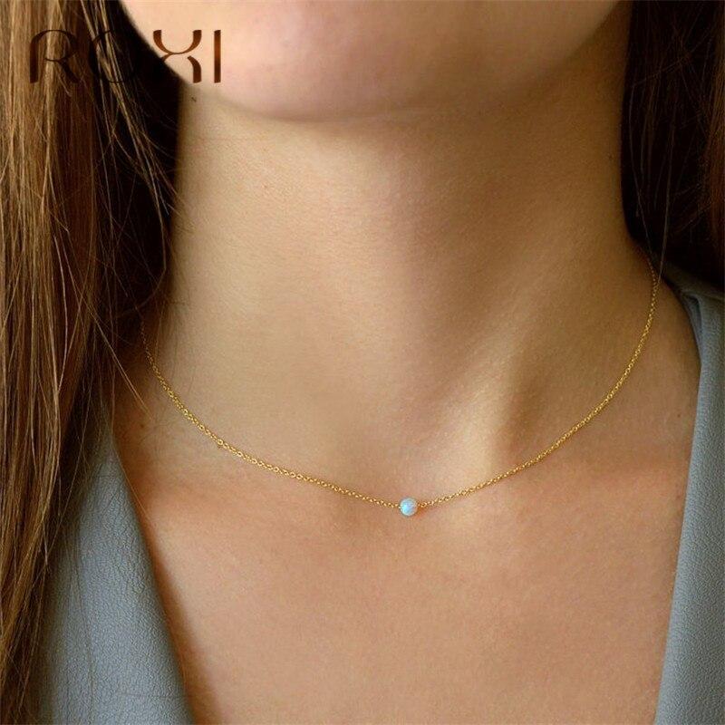 ROXI blanco fuego ópalo gargantilla collar oro enlace cadena collar pequeño redondo colgante collar para mujeres moda joyería minimalista