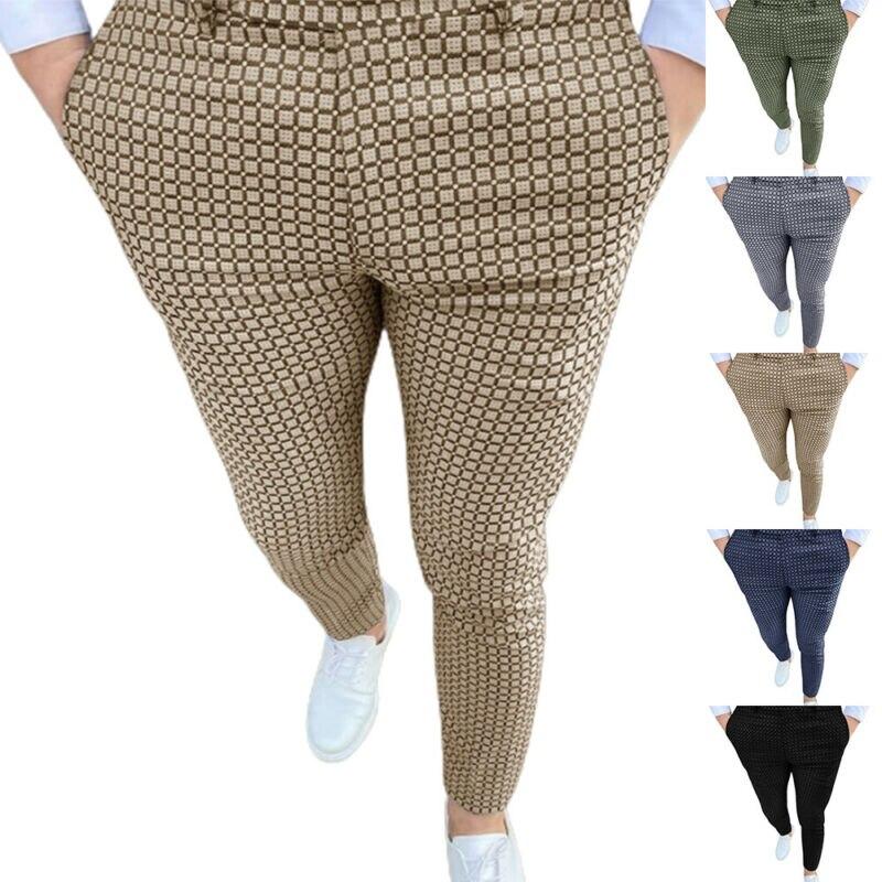 Мужские облегающие клетчатые брюки, повседневные облегающие клетчатые брюки с карманами