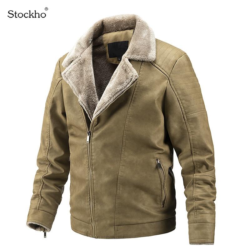 Мужские зимние кожаные куртки, бархатные кожаные куртки, утепленная теплая мотоциклетная одежда, повседневные зимние куртки, пальто с лацк...