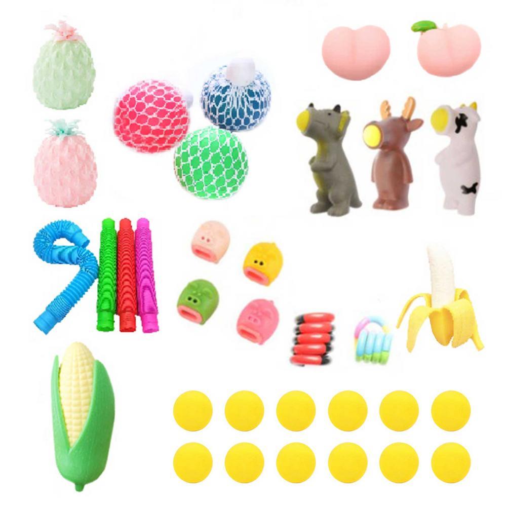34 шт. сожмите мяч, встроенный в транспортное средство для нетоксичных прочный развивающие игрушки набор удовольствие Давление рельеф сенсо...