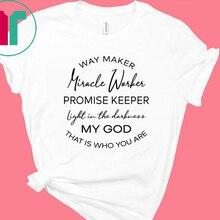 Weg Maker Wunder Arbeiter Brief Print T-shirt Frauen Baumwolle O Neck Kirche Tops Chiristian T Hemd Jesus Graphic Tees Dropshipping