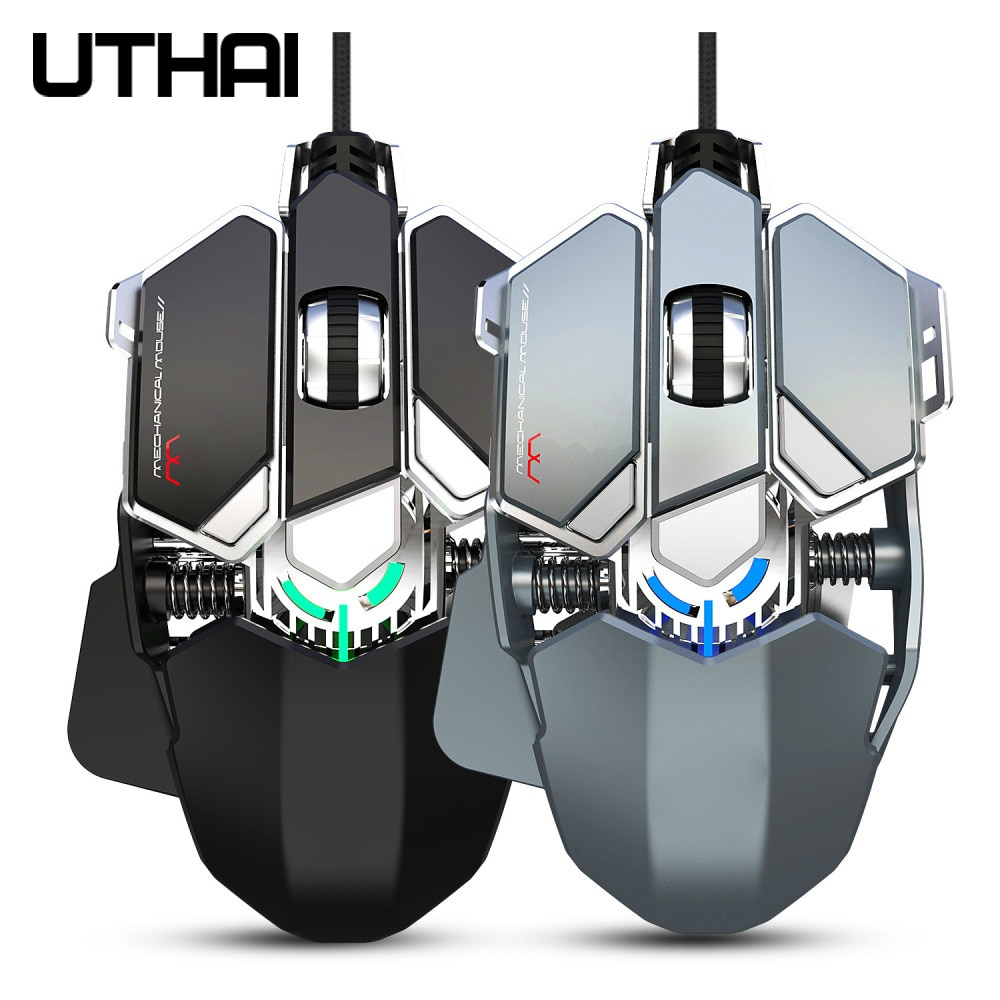 Ratón de mecánico de gaming UTHAI DB25 nuevo ratón de 9 teclas macro definición color retroiluminado con cable 6400DPI, adecuado para ordenadores portátiles