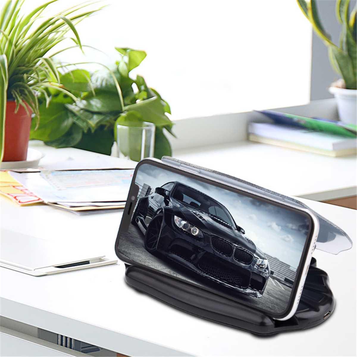 Carga parabrisas-proyector Head-Up-stand Car HUD Head Up Qi cargador inalámbrico pantalla de navegación titular