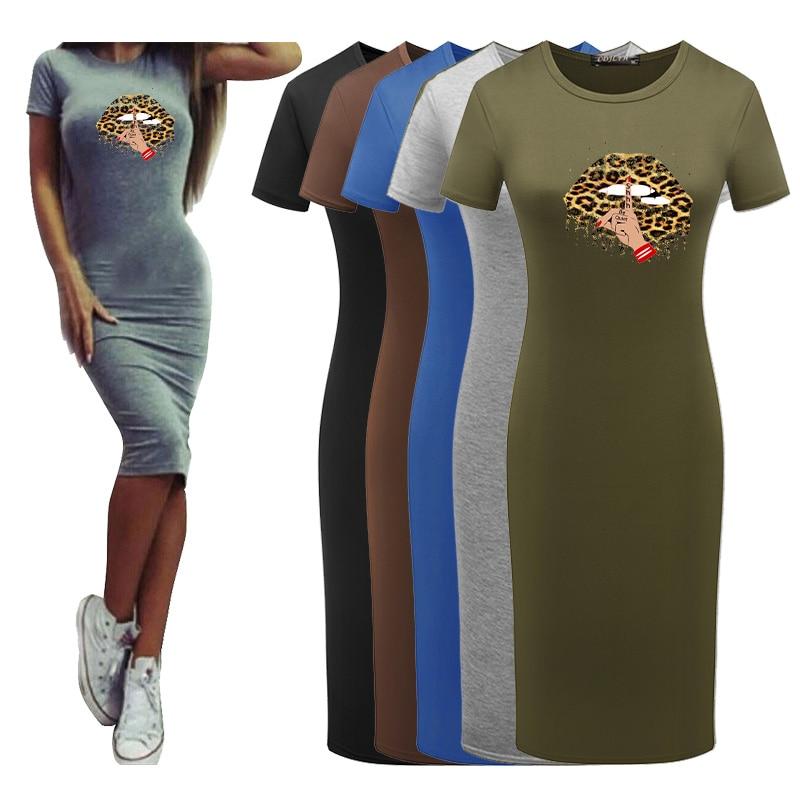 Women Summer Short Sleeve Tight Dress Leopard Lips Printing Bodycon Party Pencil Slim