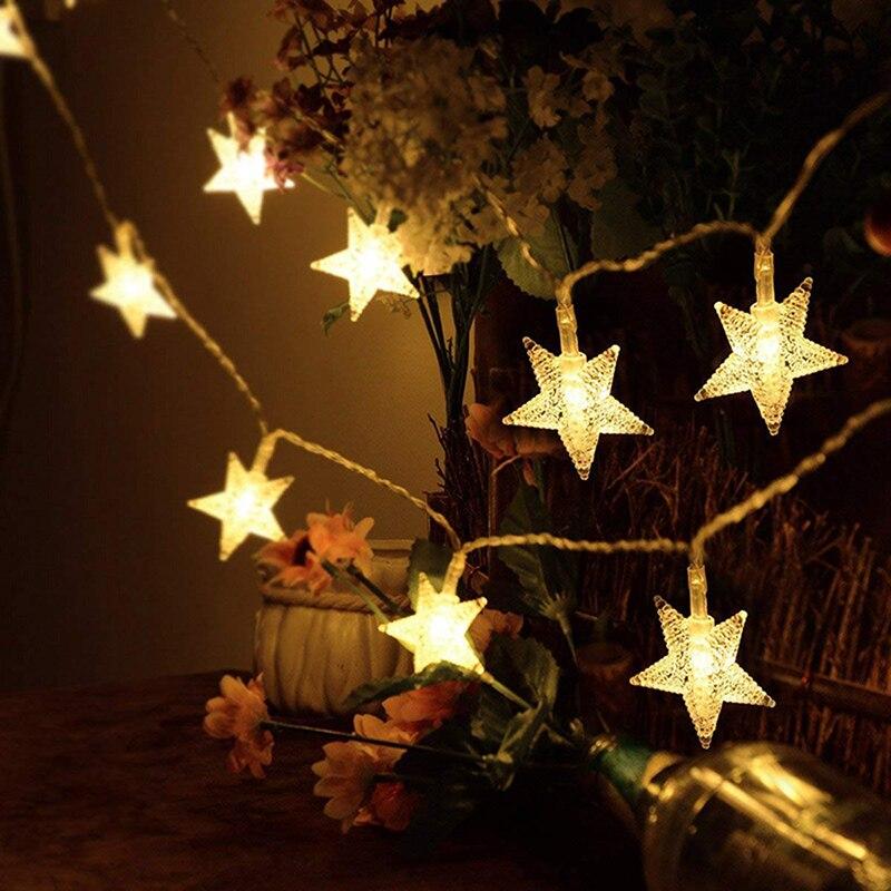5 м 20 светодиодный 220 В ЕС штекер светодиодный Рождественский звезда Волшебные гирлянды свет гирлянды открытый/закрытый для рождественские вечерние новогодние украшения