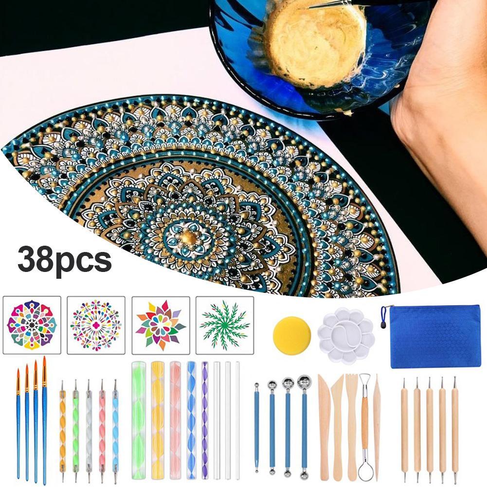 Kit de ferramentas pontilhando pintura, 38 peças, conjunto completo de ferramentas de pintura, mandala, grafite, desenho em cerâmica, pedras