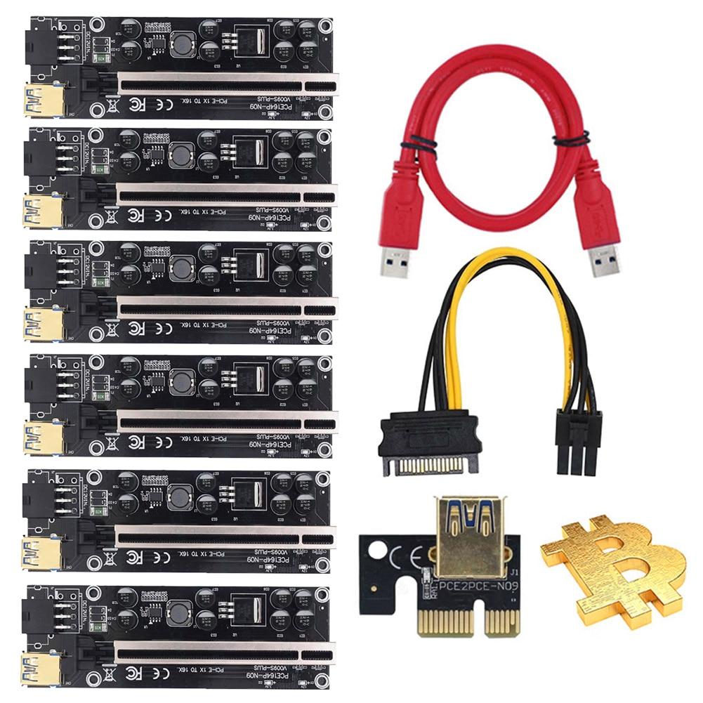 6 قطعة VER009S Plus USB 3.0 PCI-E Riser VER 009S Express 1X 4x 8x 16x موسع pcie Riser محول بطاقة SATA 15pin إلى 6 دبوس الطاقة