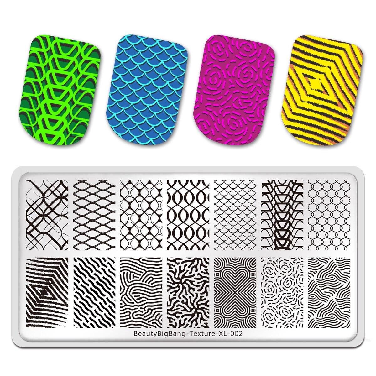 BeautyBigBang placas de estampado para manicura textura línea patrón de red arte de uñas diseño de uñas arte plantilla de herramienta de la manicura