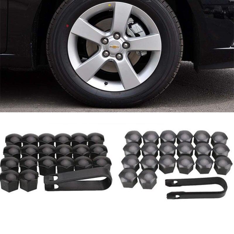 Vehemo 20 piezas Auto polvo de ajuste tornillo cubierta de neumático tornillo tapa de tuerca 22mm * 17mm de plata negro gris