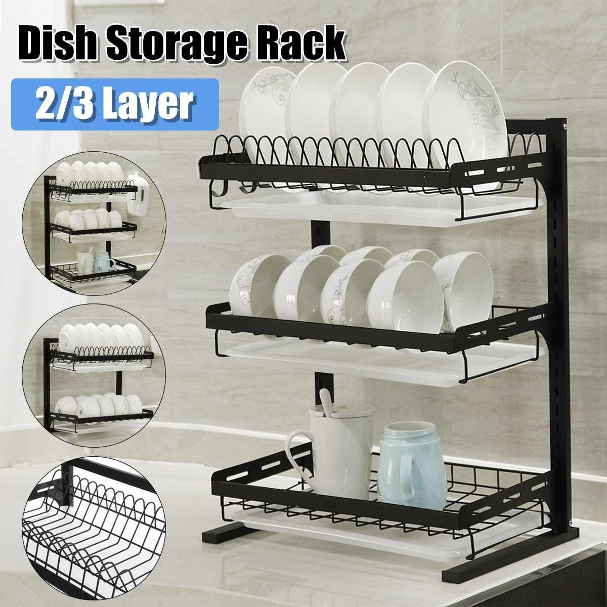 3 niveaux égouttoir à vaisselle en acier inoxydable plaque de cuisine couverts tasse égouttoir à vaisselle support de séchage mural cuisine organisateur support de rangement