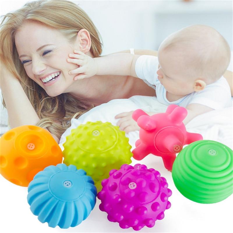 6 шт./компл. детский игрушечный мяч, развивающая тактильная игрушка для детей, тренировочный мяч для детей, мягкий массажный мяч LA894335
