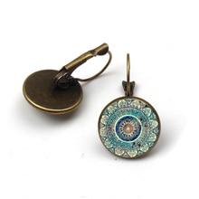 Charm Mandala Art Picture Earring Henna Crystal Dangle Earrings Yoga Om Symbol Zen Buddhism Glass Earrings For Women Jewellery