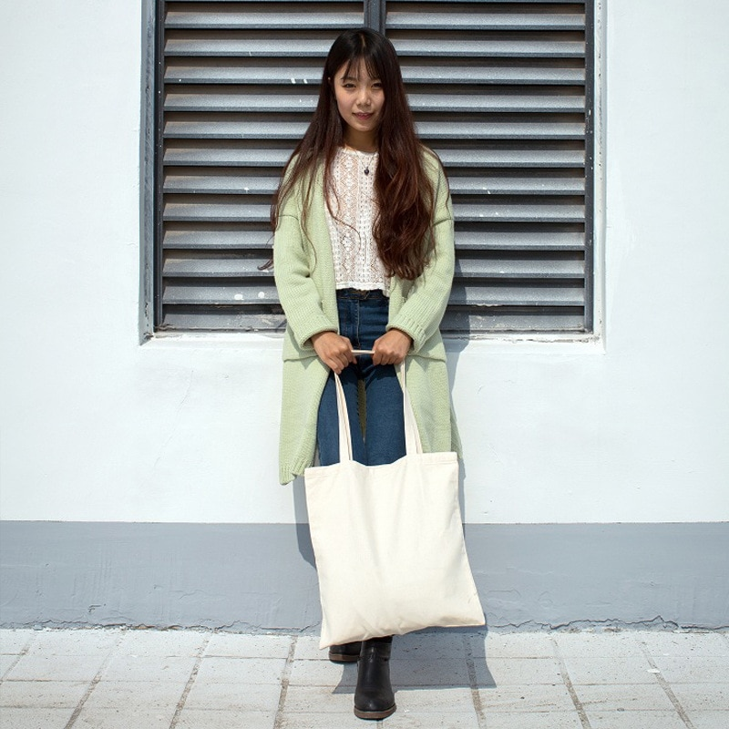 Saco de pano de cor sólida atacado saco em branco mão-pintado saco de pano de lona saco de compras feminino branco preto lona tote