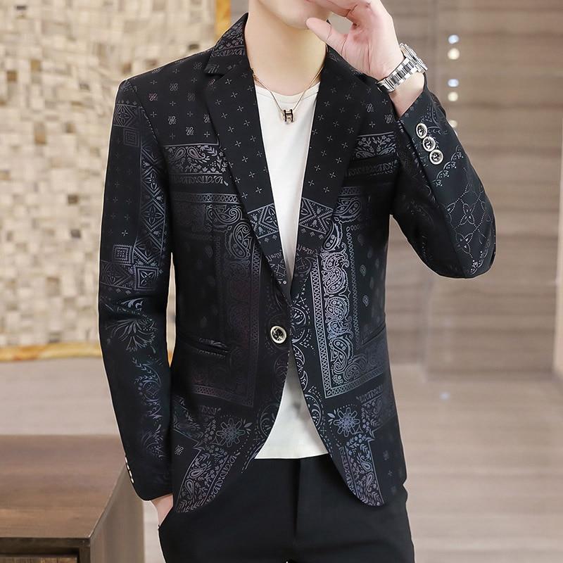2021 جديد الربيع والخريف الاتجاه طباعة بدلة صغيرة رجل الموضة الأعمال عادية الظلام نمط دعوى شعبية معطف جديد دعوى رجل