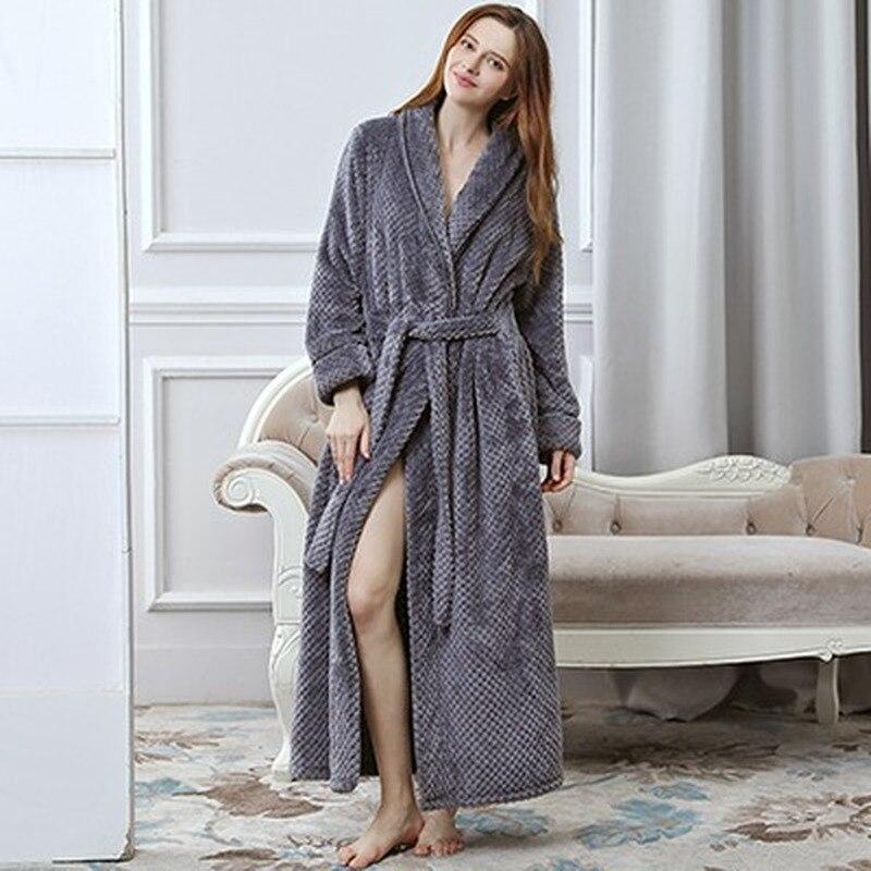 بيجاما شتوية سميكة وطويلة للغاية للرجال والنساء ، رداء حمام دافئ من الفانيلا ، ناعم وفاخر ، نسيج مريح
