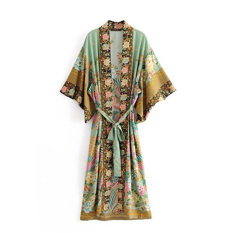 2020 boho v pescoço pavão flor impressão longo quimono vestido étnico novo laço acima com faixas longo cardigan solto femme vestido longo