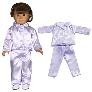 Purple Silk Pajamas Suits Wear For 18Inch American Dolls & 43cm New Born Baby Doll Clothes Accessories