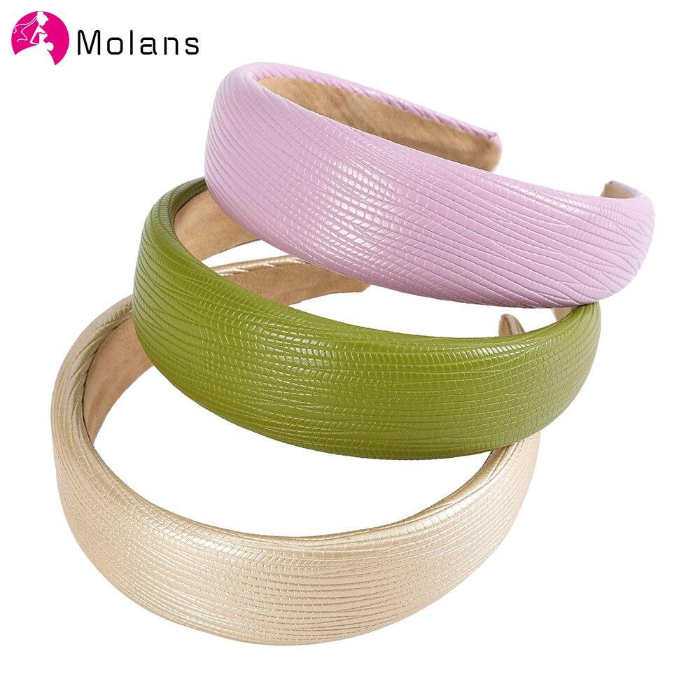 Molans, bandas para el pelo de piel sintética, diadema ancha de Color liso para niñas, diademas para el pelo, accesorios para el cabello para mujeres, tocado