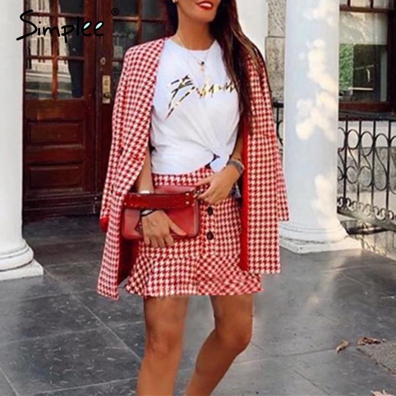 Simplee двубортный клетчатый двухкомпонентный женский костюм с юбкой, Повседневная Уличная одежда, женский костюм, модный офисный Женский бле...