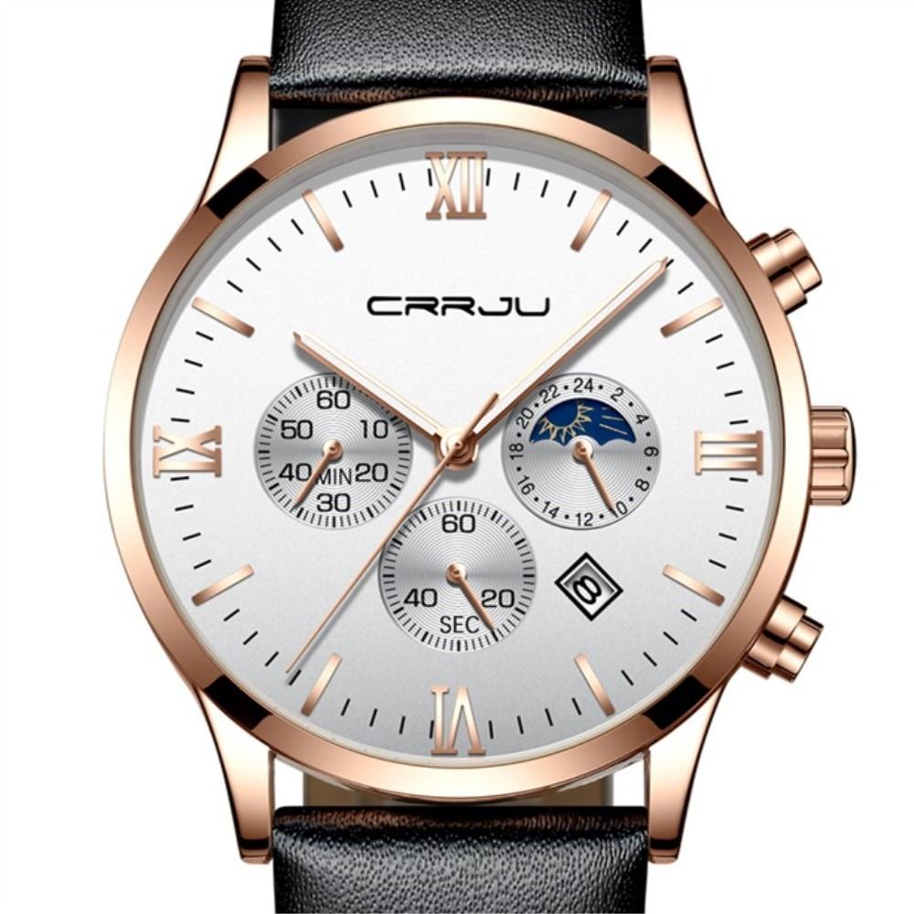Relojes de Cuero de negocios CRRJU para hombre, Relojes de lujo para hombres, Relojes de cuarzo 2019, Relojes de pulsera de fecha automática de marca para hombre