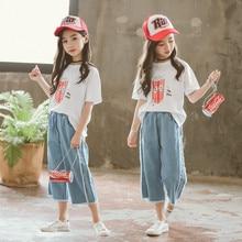 Traje de verano para niña, camiseta de manga corta de maíz con dibujos animados pop blanco + Pantalones vaqueros suaves azules para bebé, ropa para niña 6 8 10 12 14