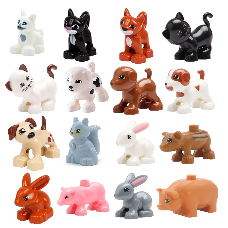 Big Size Building Blocks Cat Dog Pig Rabbit Model Accessories Compatible bricks Farm Animals set Assemble Education Toys For Kid