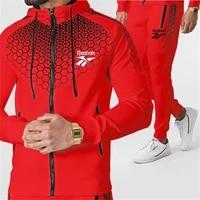 2021 new mens fashion casual sportswear mens fleece sweat shirt sports jacket pants track and field sportswear suit