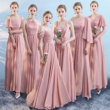 Blush Pink A Line Chiffon Beach Maxi Dresses for Wedding Party 2020 Mixed Style Long Bridesmaid Dress