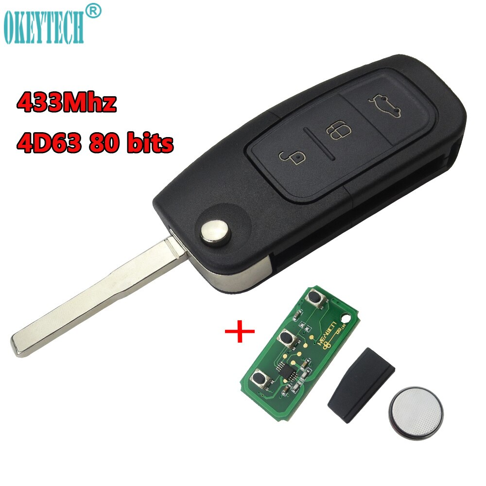 OkeyTech 433 МГц 4D63 80 бит чип без ключа для входа Fob Автомобильный Дистанционный ключ 3 кнопки для Ford Mondeo Focus Fiesta C Max S Max Galaxy