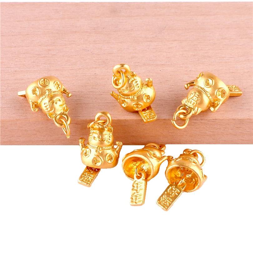 12 Uds 23386 colgante de amuletos de gato Plutus de buena suerte de Color dorado para hacer joyas pulsera accesorios hechos a mano