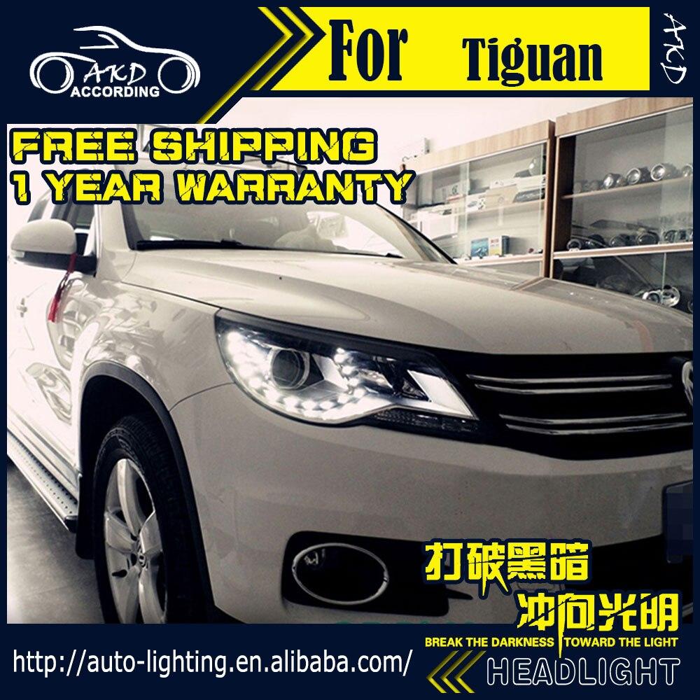 AKD Car Styling Head Lamp for VW Tiguan Headlights 2010-2012 Tiguan LED Headlight H7 D2H Hid Option Angel Eye Bi Xenon Beam