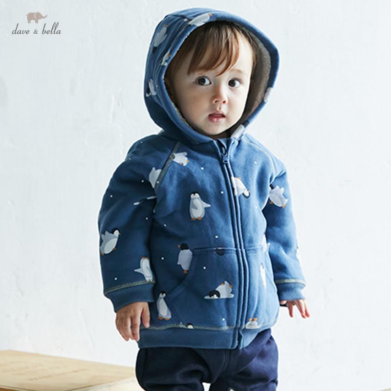 DBJ18518 ديف بيلا الشتاء الطفل للجنسين موضة طباعة جيوب معطف مقنع الأطفال الفتيات الفتيان القمم الرضع طفل ملابس خارجية