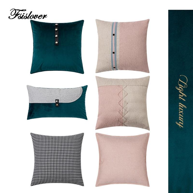 FSISLOVER, funda de cojín ligera de lujo, de algodón, para cintura, fundas de almohada de alta calidad, fundas de cojín para el hogar, decoración kissenbezug hogar