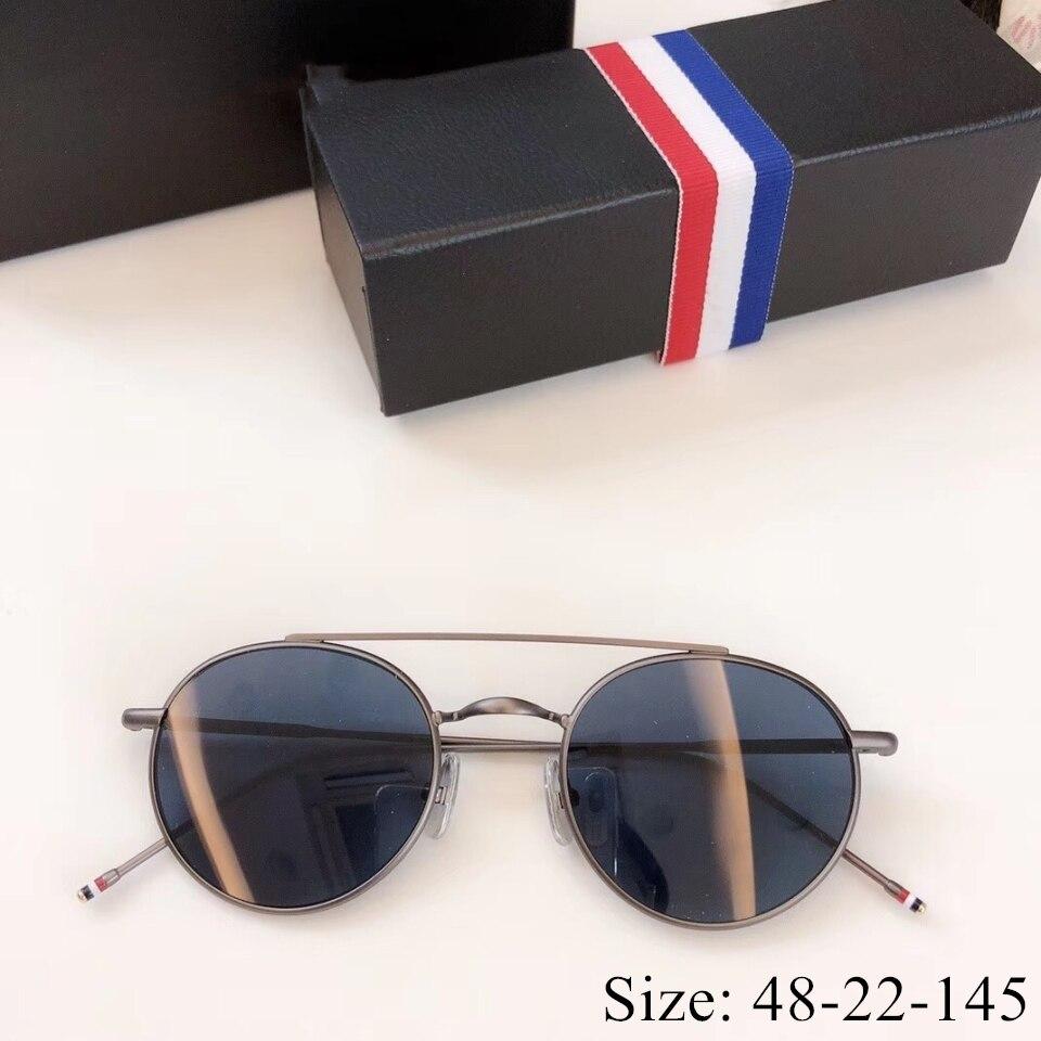 خمر ريترو ستايل مستديرة التيتانيوم الخالص النظارات الشمسية TB101 عدسات قطبية الموضة الكلاسيكية صندوق الأصلي حالة المرأة رجل النظارات الشمسية