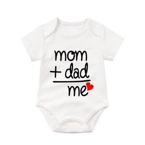 mom+dad=me Children New Original Design Cartoon Palysuit Super Cute Short Sleeve Newborn Baby 0-24M Playsuit