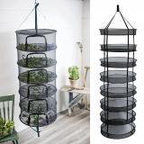 Estante de secado de hierbas Multi capa Clip-on malla plegable práctico hogar colgante cesta flores jardín duradero plantación al aire libre