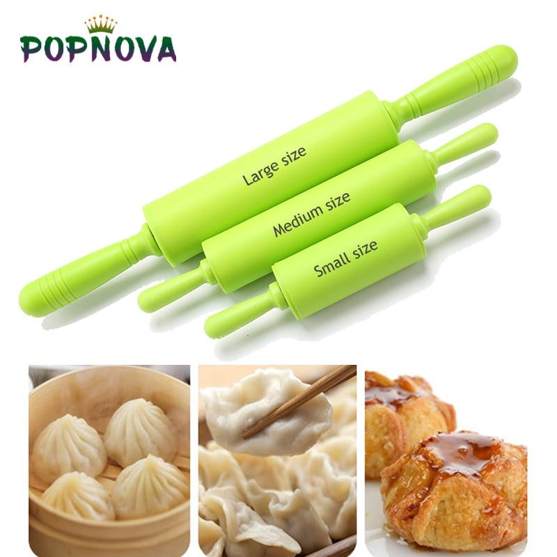 Rolo de massa de silicone médio/grande tamanho rolo colorido antiaderente ferramenta de cozimento de pastelaria de grau alimentício