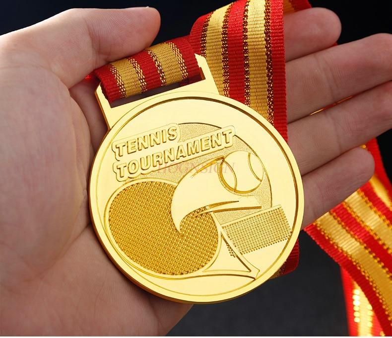 Medalha com pérola tênis jogo medalha escola esportes grupo competição ouro, prata e bronze medalhas de metal listados 2020