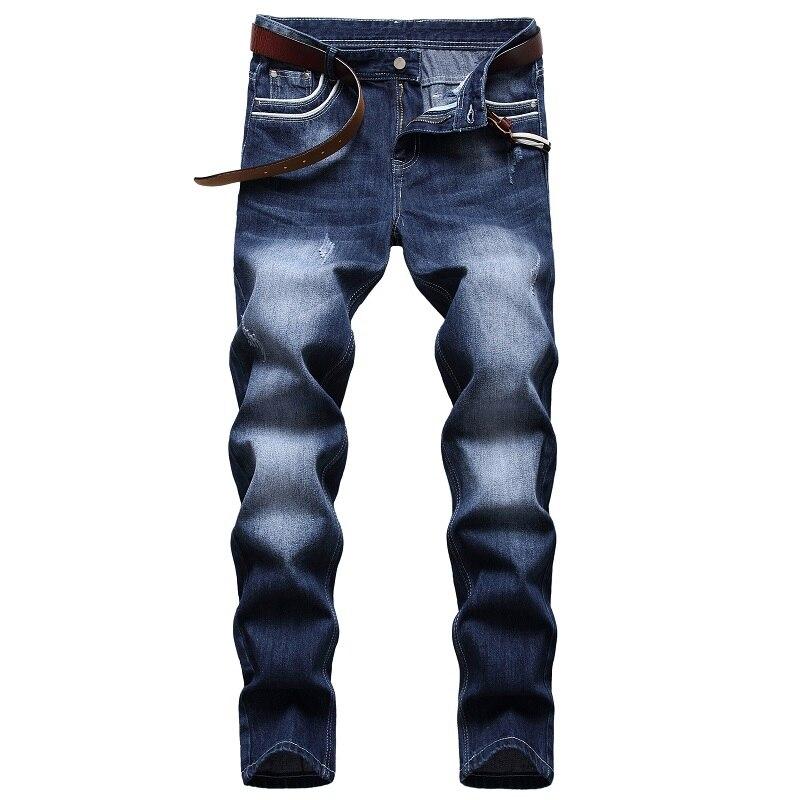 брюки мужские джинсы для мужчин Джинсы для мужчин 2021 Модные мужские прямые потертые белые хлопковые персонализированные модные классическ...